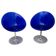 Philippe Starck for Kartell Blue Lucite Eros S Swivel Italian Chairs
