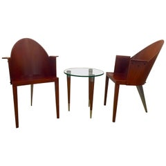 Philippe Starck Royalton, Two Signed Armchairs and Small Table by Driade