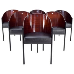 Philippe Starck Six Mid-Century Modern Costes Armchairs, Aleph Driade Italy, 80s