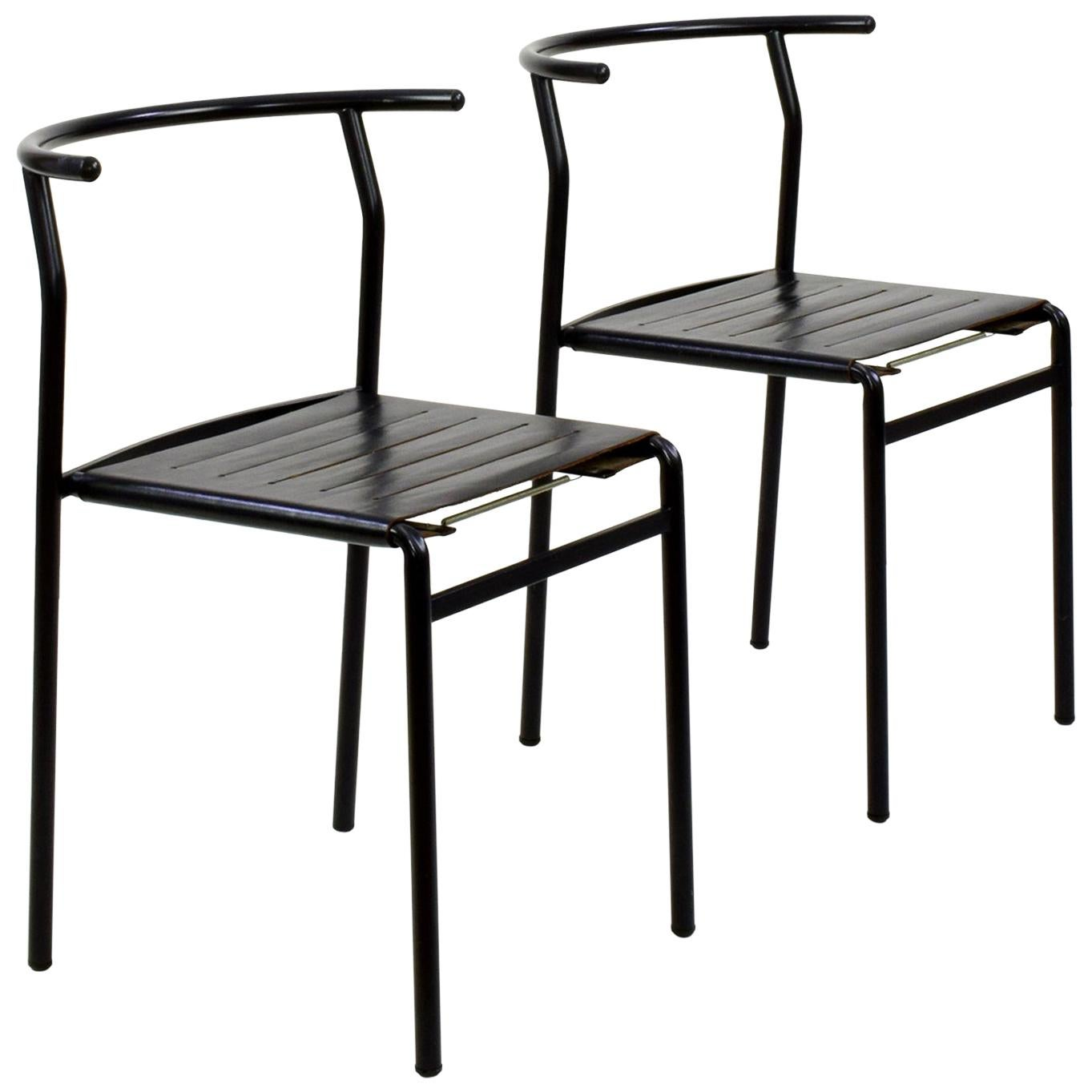 Philippe Starck Two Leather 'Café Chairs' for Baleri Italia, 1984, Café Costes