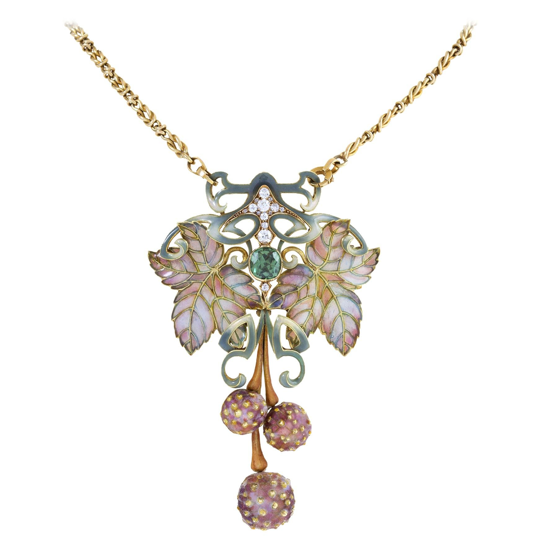 Philippe Wolfers Plique-à-Jour Enamel and Gem-Set Pendant Necklace