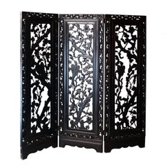 Philippine Handcrafted Solid Mahogany Carved Screen, Philippines, 1930