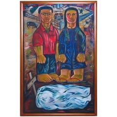 Philippine Oil Painting on Canvas by Nunelucio Alvarado, 1984