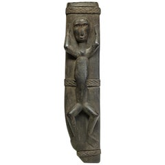 Philippine Wood Sword Scabbard with Standing Figure, Rattan Wraps