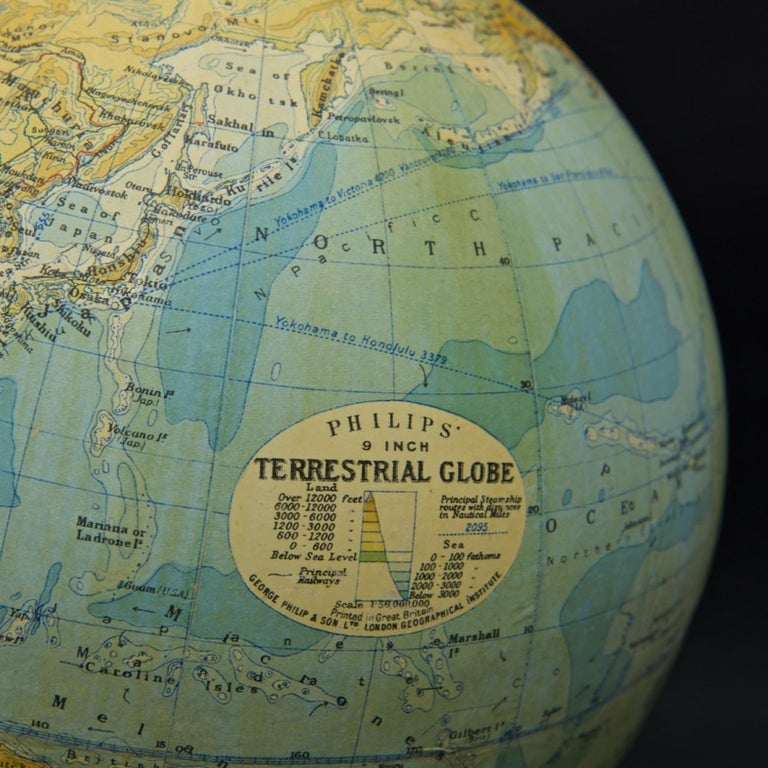 Brass Philips Terrestrial Globe, circa 1925 For Sale