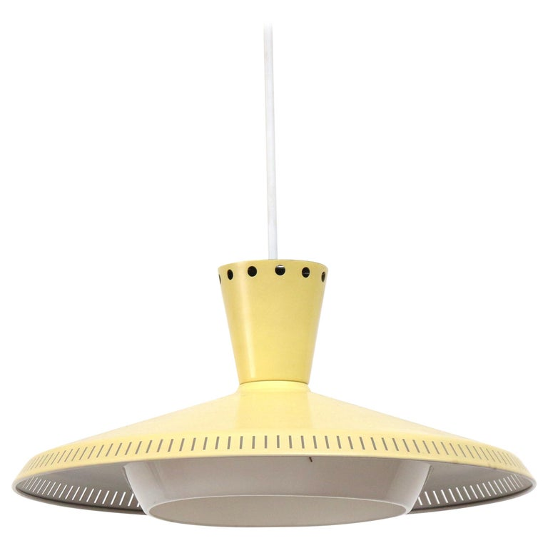 Philips Ceiling Pendant in Pale Yellow with Acrylic Diffuser For Sale