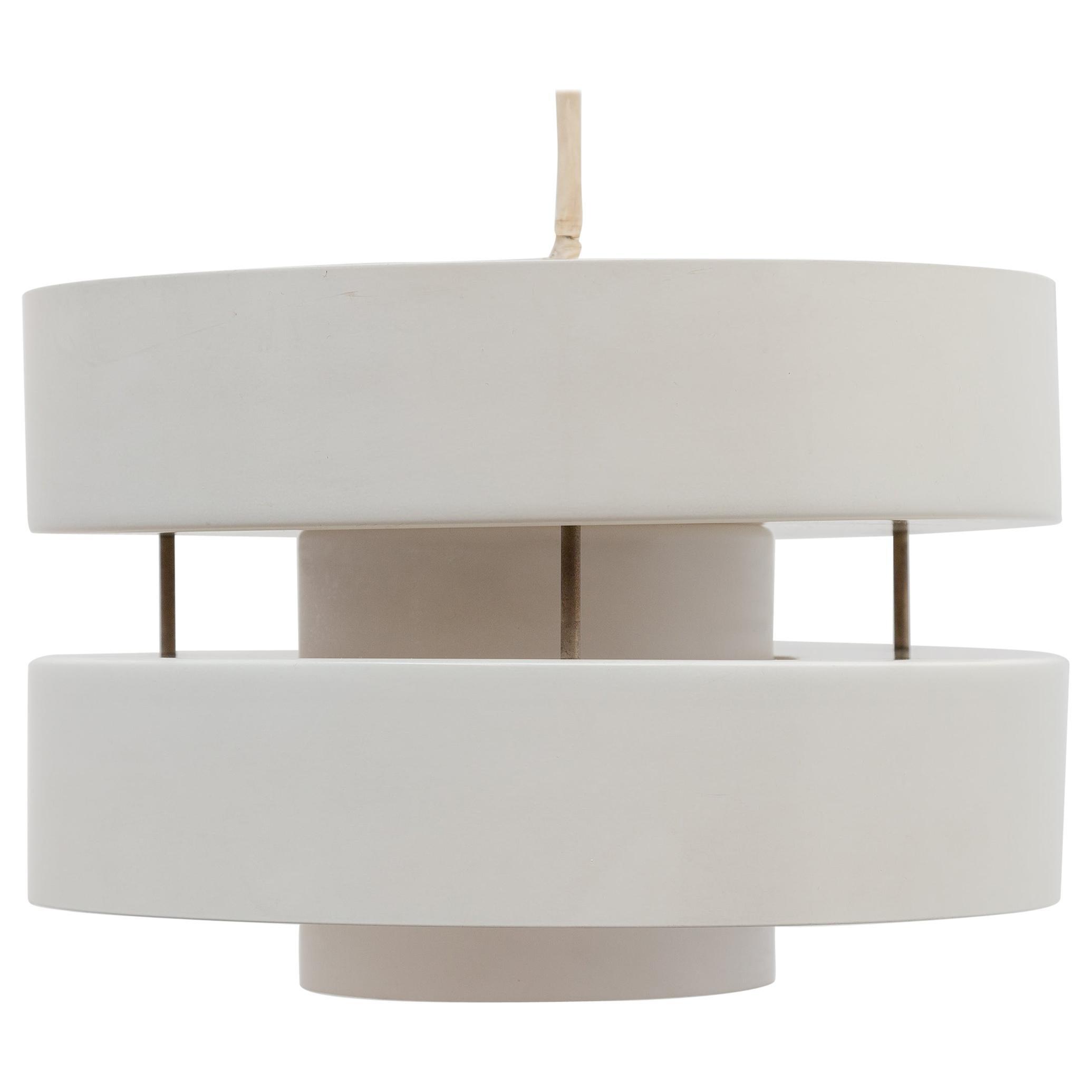 Philips Opl Glass White Metal Pendant Lamp, Dutch Design, 1960s