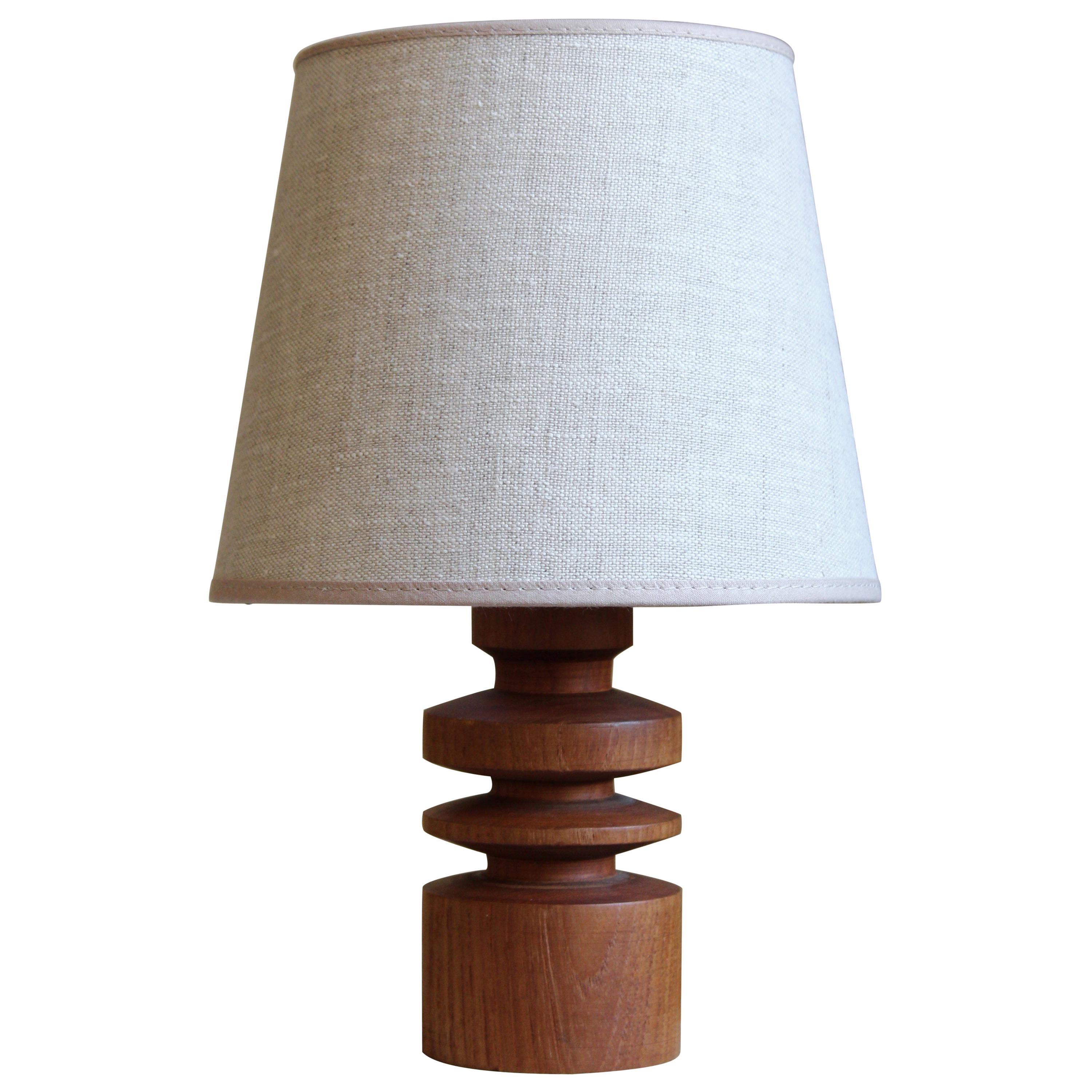 Philips, Small Table Lamp, Solid Teak, Linen, Netherlands, 1960s