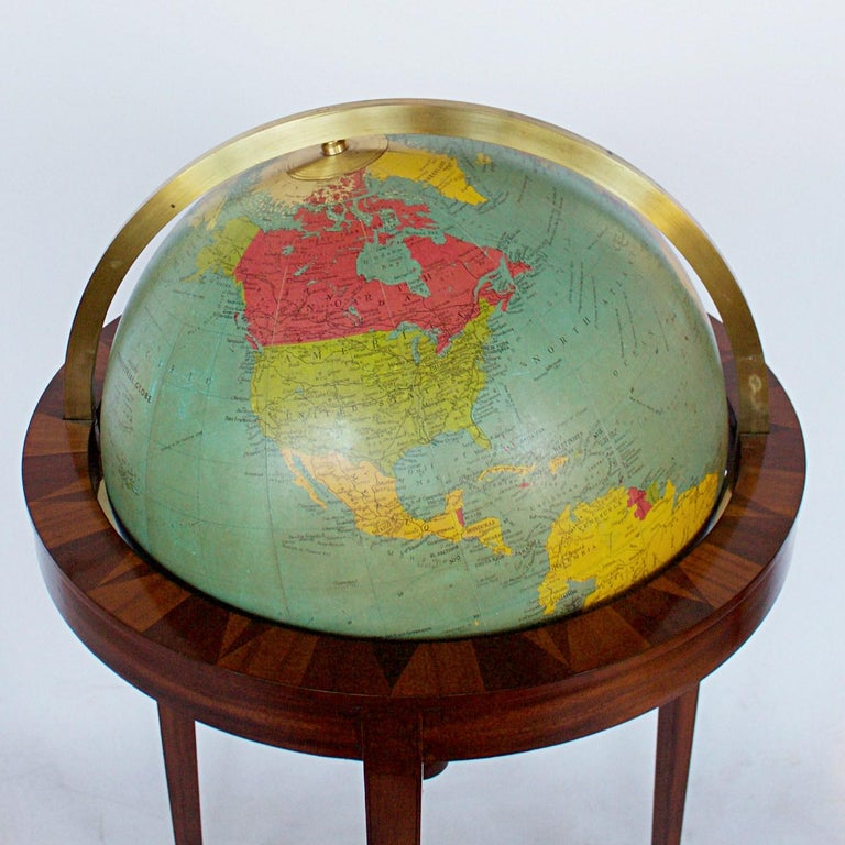English Philip's Terrestrial Globe Mahogany and Walnut Stand, circa 1982 For Sale