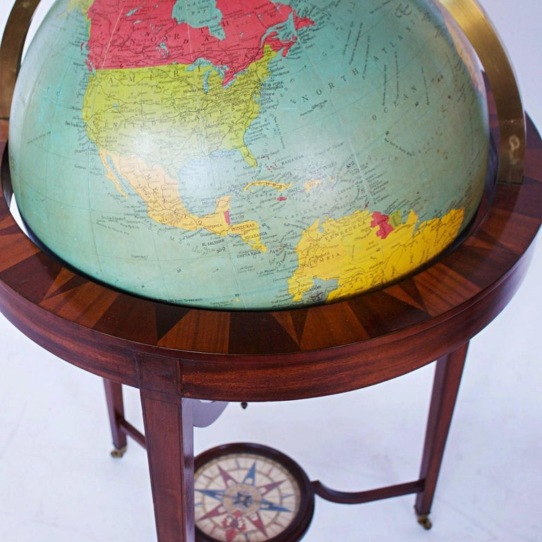 Philip's Terrestrial Globe Mahogany and Walnut Stand, circa 1982 In Good Condition For Sale In Forest Row, East Sussex