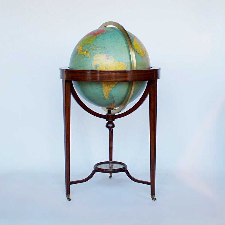 Philip's Terrestrial Globe Mahogany and Walnut Stand, circa 1982 For Sale 2