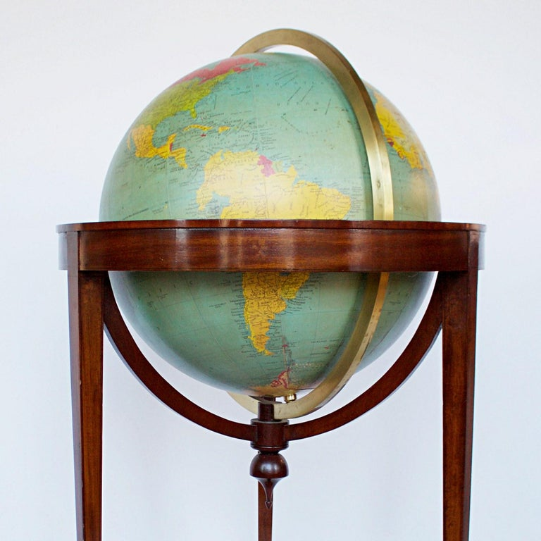 Philip's Terrestrial Globe Mahogany and Walnut Stand, circa 1982 For Sale 3