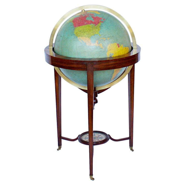 Philip's Terrestrial Globe Mahogany and Walnut Stand, circa 1982 For Sale