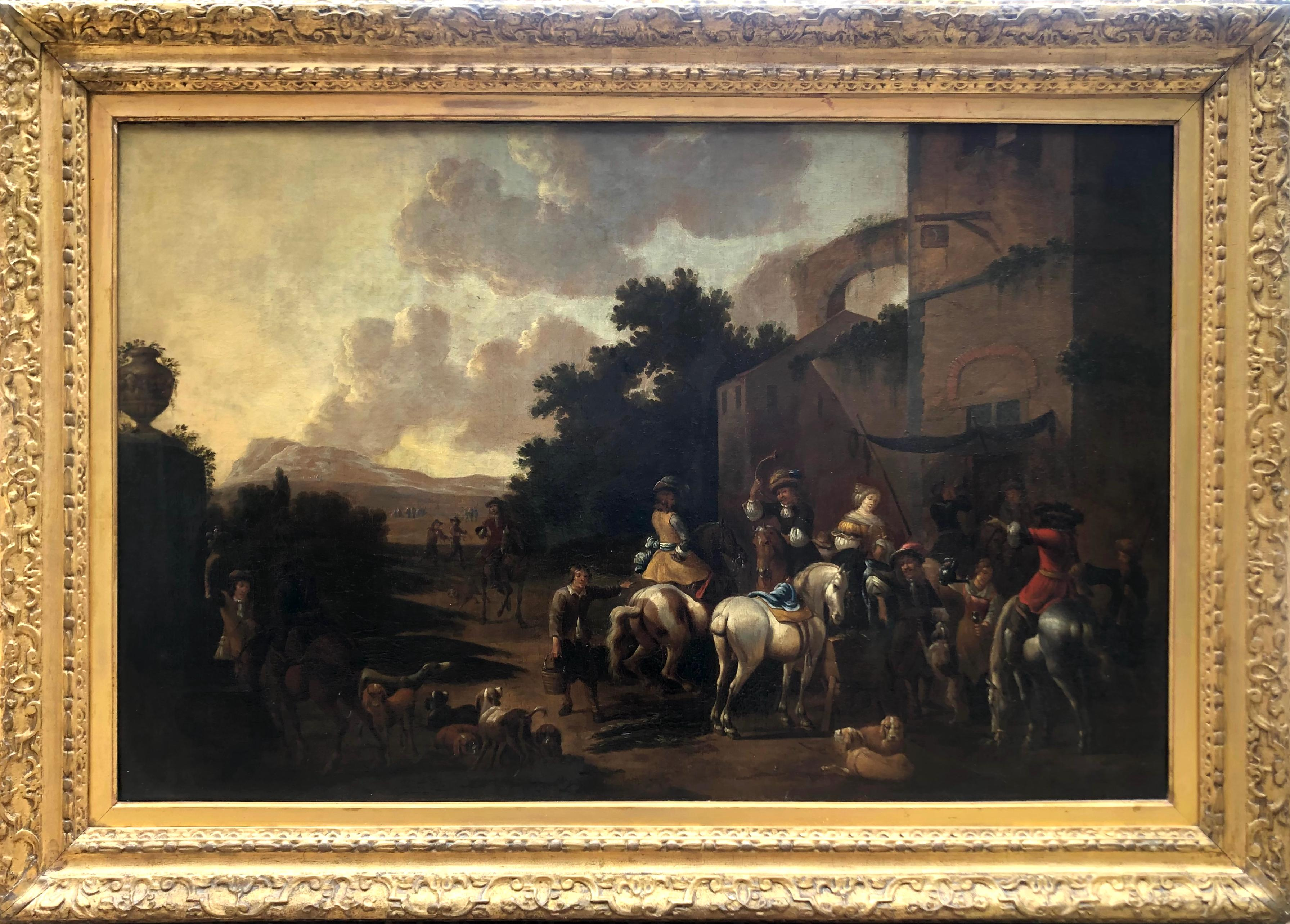Oil Painting, Hunting Party, Circle of Philips Wouwerman (1619-1668)
