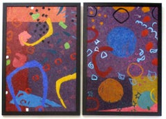 Music In A Night Garden, Contemporary Diptych Abstract Oils on Canvas
