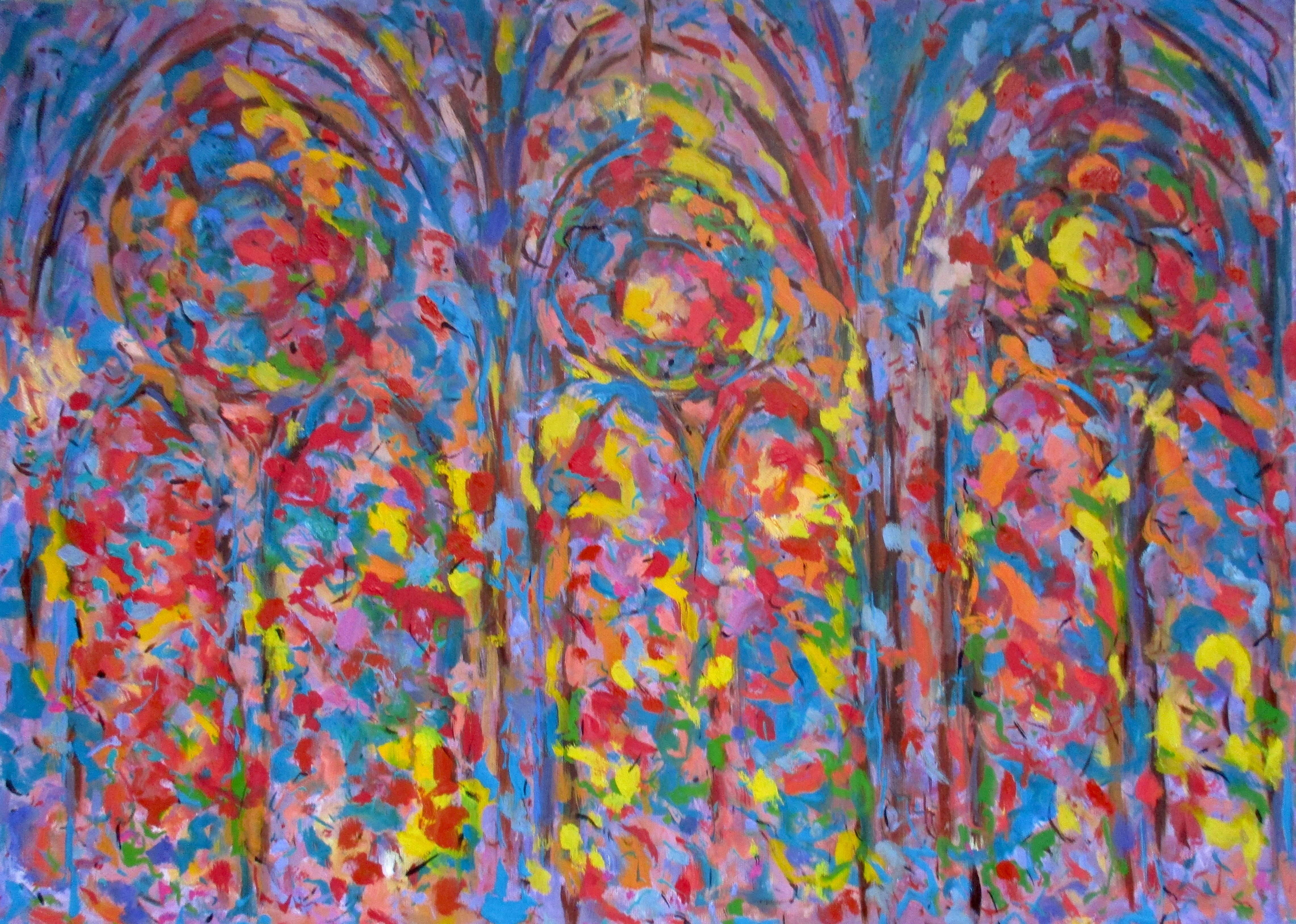 Reims Cathedral (Forest of Light)  Contemporary Abstract Oil Painting