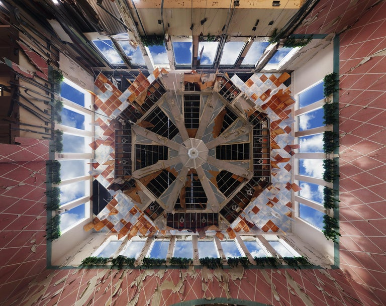 "Phillip Buehler Color Photograph - ""Atrium"" large scale color photograph, Wayne Hills Mall (Modern Ruins) framed"