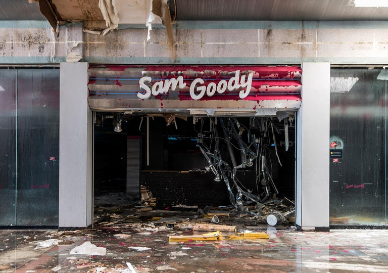 "Phillip Buehler Color Photograph - ""Sam Goody"" Wayne Hills Mall, NJ (Modern Ruin series) 24""x30""color photograph"