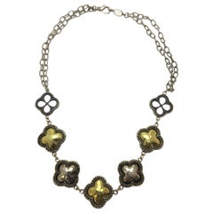 """Phillip Gabriel Silver and Gold """"Clover"""" Necklace"""