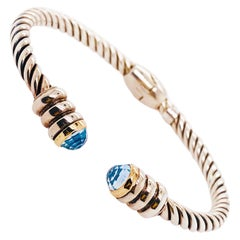 Phillip Gavriel Blue Topaz 18k Gold Twist Cuff Bracelet Made in Italy