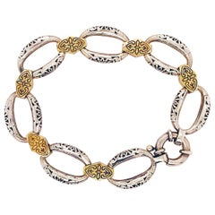 Phillip Gavriel Italian Made 18 Karat Yellow Gold Sterling Silver Link Bracelet