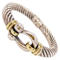 Phillip Gavriel Italy Made 18K Gold and Sterling Silver Buckle Cable Bracelet