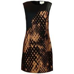 Phillip Lim Black/Tan Sleeveless Shift Dress w/ Tan Print sz 8