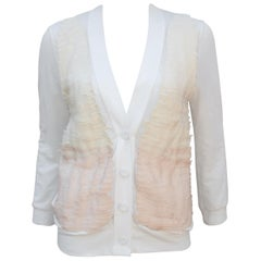 Phillip Lim Cotton Knit Cardigan Jacket With Grosgrain Ribbon Details
