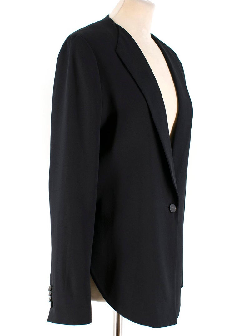 Phillip Lim cropped-back silk-faille jacket   - Black, lightweight silk-faille  - Collarless, notch lapel Long sleeves, lightly padded shoulders, button-fastening cuffs  - Cropped back, tail front design - Single chest welt pocket  - Single breasted