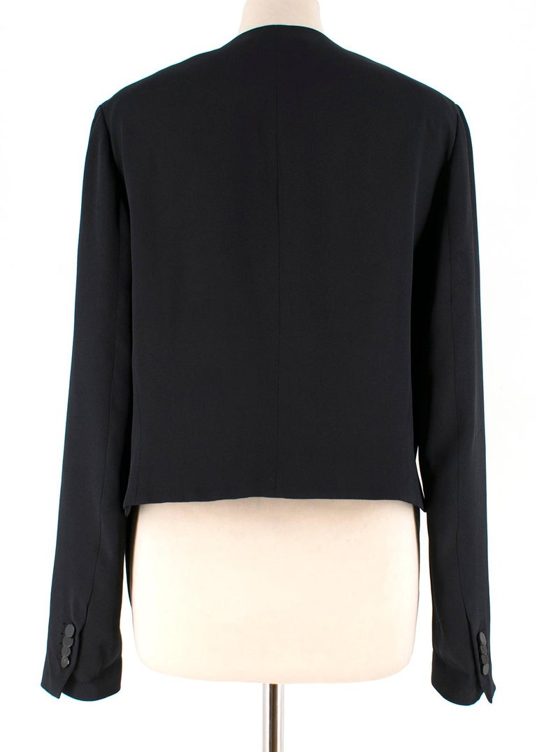 Black Phillip Lim cropped-back silk-faille jacket US 10  For Sale