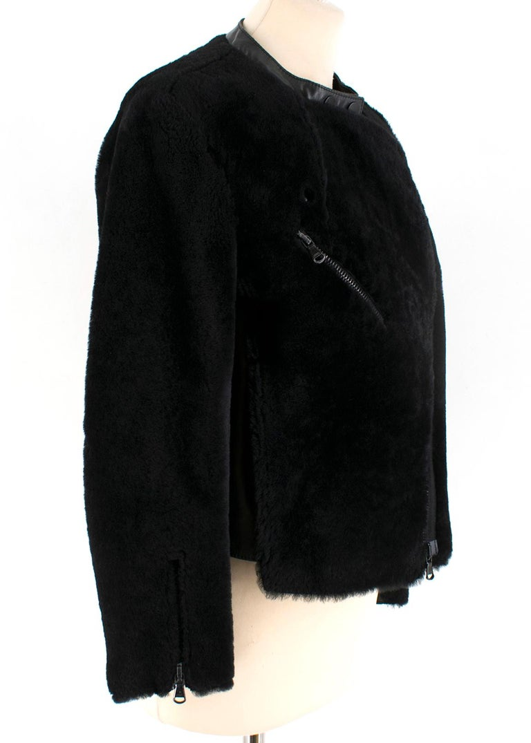 Black Phillip Lim Motorcycle jacket with Fur and Leather Panelling - Size US 4 For Sale