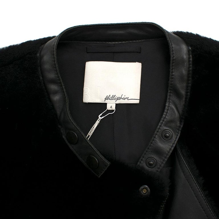 Women's Phillip Lim Motorcycle jacket with Fur and Leather Panelling - Size US 4 For Sale