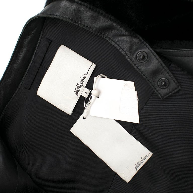 Phillip Lim Motorcycle jacket with Fur and Leather Panelling - Size US 4 For Sale 1