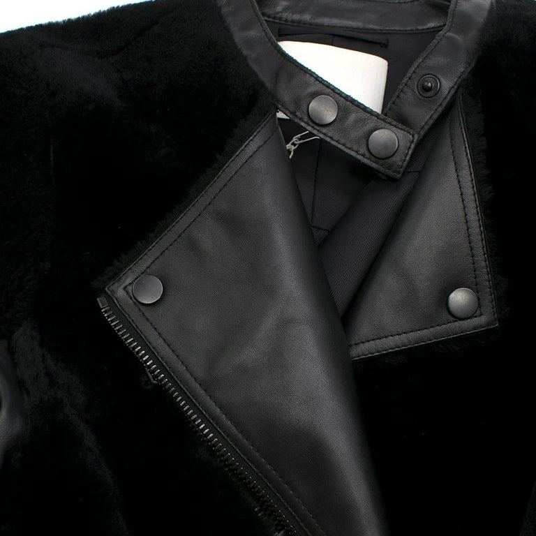 Phillip Lim Motorcycle jacket with Fur and Leather Panelling - Size US 4 For Sale 3