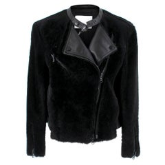 Phillip Lim Motorcycle jacket with Fur and Leather Panelling - Size US 4
