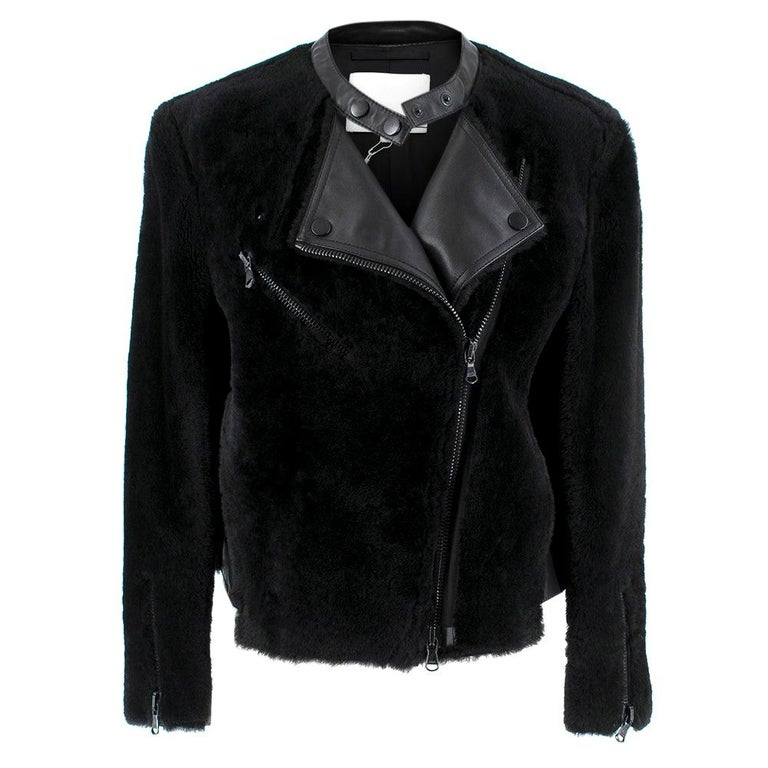 Phillip Lim Motorcycle jacket with Fur and Leather Panelling - Size US 4 For Sale