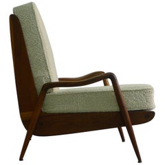 Phillip Lloyd Powell, 1960s American Walnut Lounge Chair with White Cushions