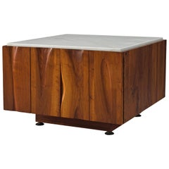 Phillip Lloyd Powell Coffee Table in Walnut and Marble with Hidden Storage