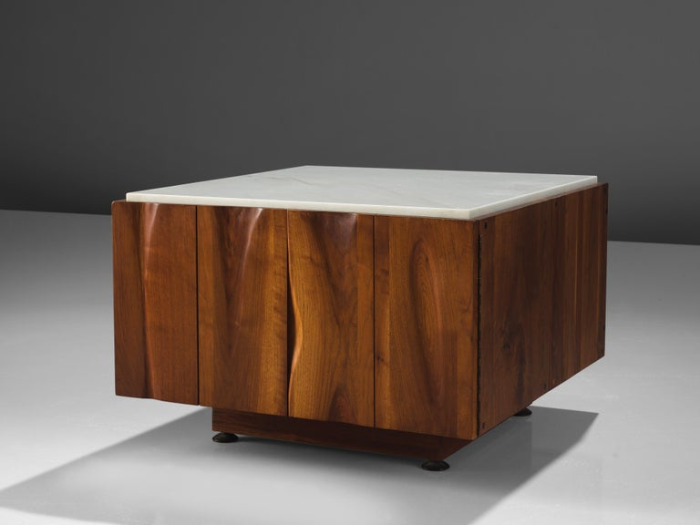 Phillip Lloyd Powell, coffee table with storage space, walnut and marble, New Hope, PA, United States, 1962  This exquisite coffee table is designed by Phillip Lloyd Powell and executed in solid walnut and a white marble as a top that balances the