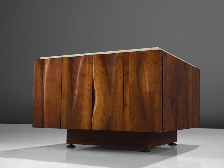 American Phillip Lloyd Powell Coffee Table in Walnut and Marble with Storage For Sale