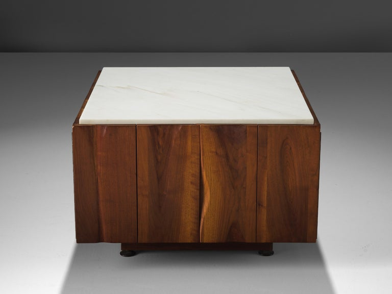 Phillip Lloyd Powell Coffee Table in Walnut and Marble with Storage In Good Condition For Sale In Waalwijk, NL