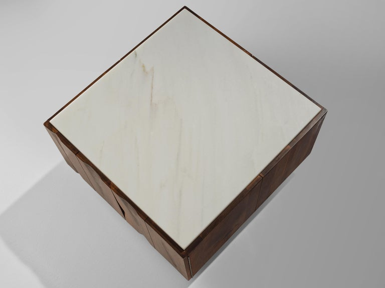 Mid-20th Century Phillip Lloyd Powell Coffee Table in Walnut and Marble with Storage For Sale