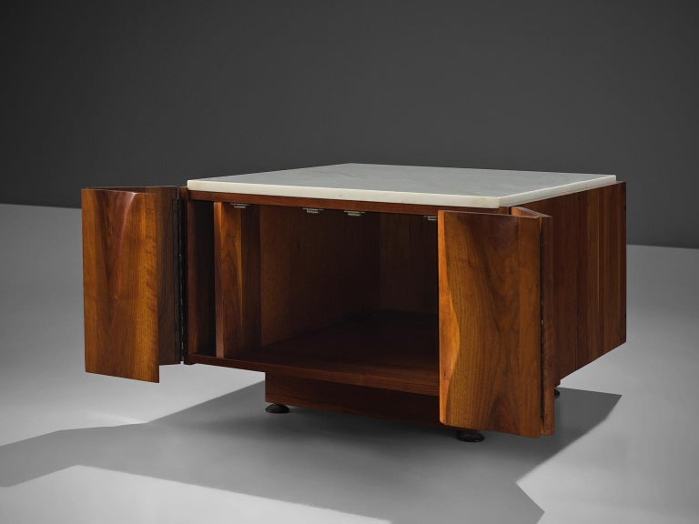 Phillip Lloyd Powell Coffee Table in Walnut and Marble with Storage For Sale 3