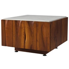 Phillip Lloyd Powell Coffee Table in Walnut and Marble with Storage