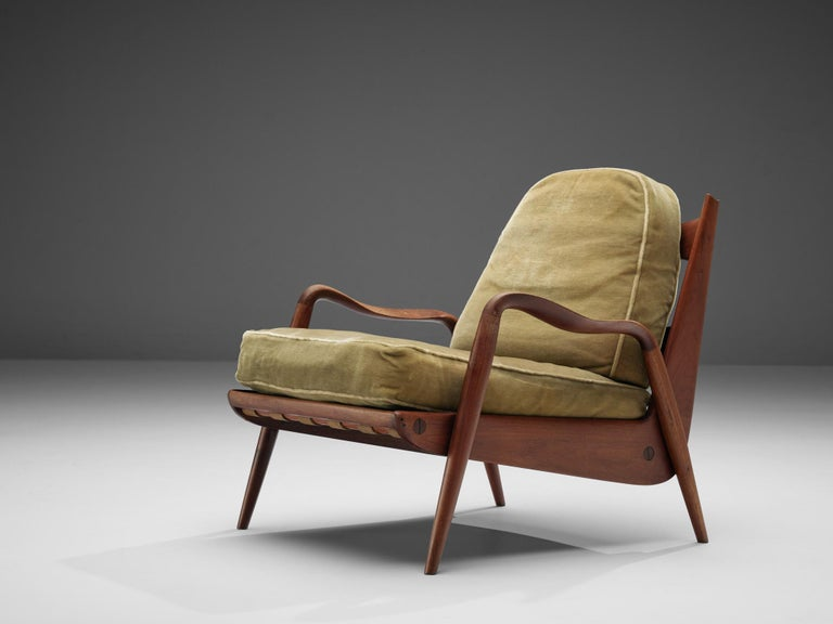 Philip Lloyd Powell, 'New Hope' lounge chair, American walnut and green= fabric, United States, 1960s.