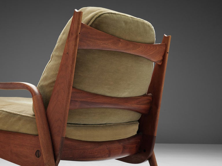 Velvet Phillip Lloyd Powell 'New Hope' Lounge Chair For Sale