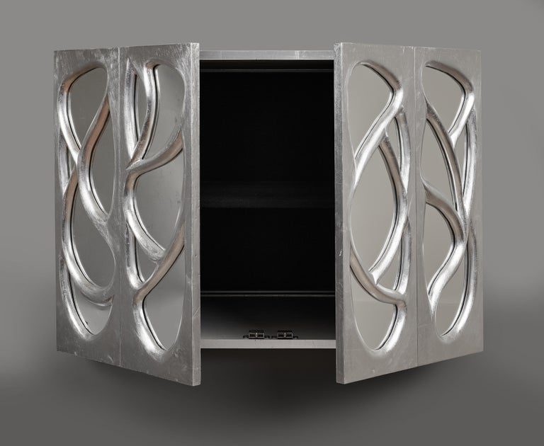 Phillip Lloyd Powell Rare Sculpted and Mirrored Wall Cabinet in Silver Leaf 1965 For Sale 4