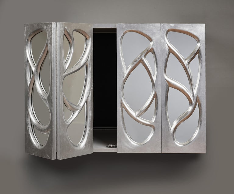 Phillip Lloyd Powell Rare Sculpted and Mirrored Wall Cabinet in Silver Leaf 1965 For Sale 5