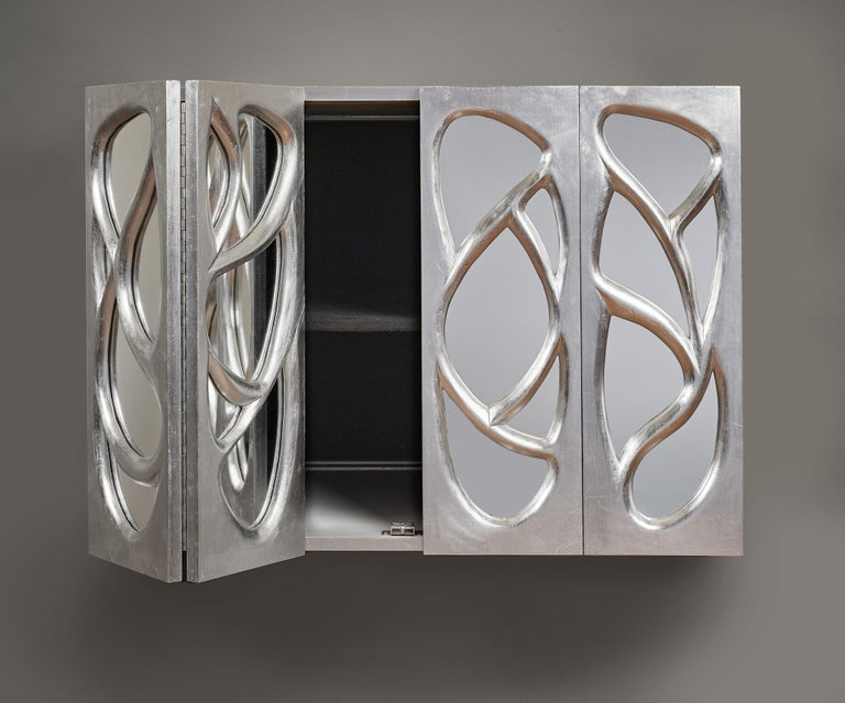 Phillip Lloyd Powell Rare Sculpted and Mirrored Wall Cabinet in Silver Leaf 1965 For Sale 6