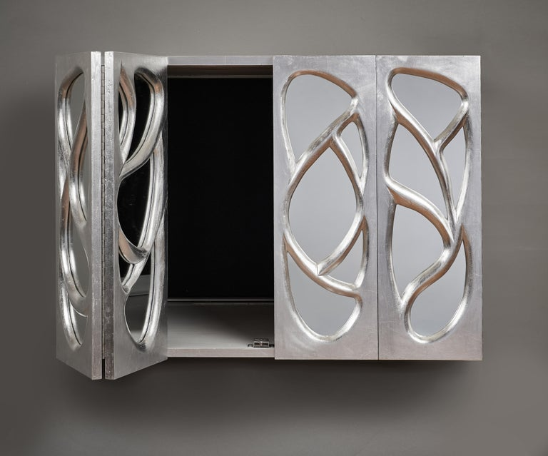 Phillip Lloyd Powell Rare Sculpted and Mirrored Wall Cabinet in Silver Leaf 1965 For Sale 7